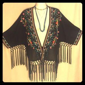Festival hippie BoHo black embroidered Fringe top